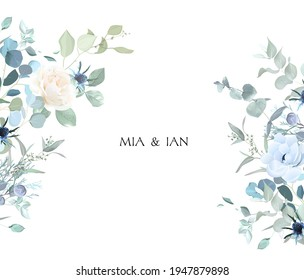 Creamy beige rose, anemone, dusty blue thistles, eucalyptus, greenery, juniper, brunia vector design frame. Wedding seasonal flower card.Floral watercolor composition.Elements are solated and editable