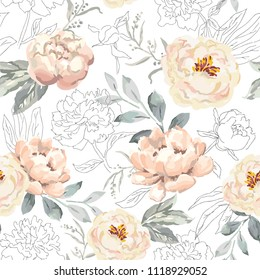 Creamy blush peony flowers and gray leaves print. Delicate illustration. Vector seamless pattern. Linear botanical design. Floral graphic. Nature summer plants. Romantic wedding background