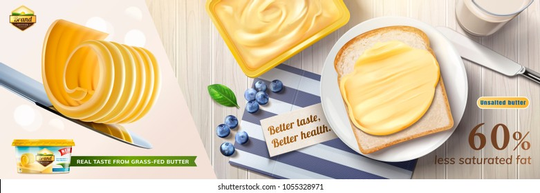 Creamy butter ads, butter curls on knife with some spreading on toast in 3d illustration, top view of delicious breakfast