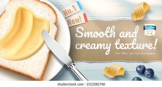 Creamy butter ads with delicious toast on blue wooden table in 3d illustration, flat lay perspective
