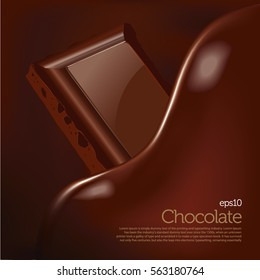 Creamy chocolate wave melting over chocolate bar