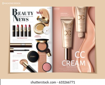 creamy color cosmetic magazine or catalog template design for commercial uses, 3d illustration