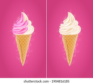 Creamy ice cream on a bright background