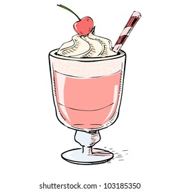 Creamy milk shake with cherry and foam. Hand drawing sketch vector illustration