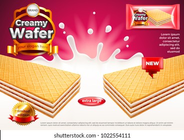 Creamy wafer ads. Milk splashes. 3d illustration and packaging