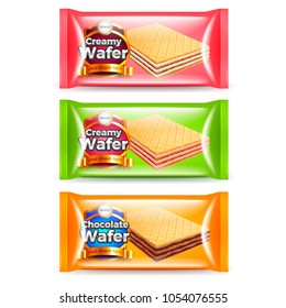 Creamy wafer packaging three flavors 3d realistic vector set