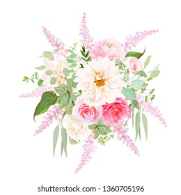 Creamy white dahlia, pink rose, astilbe, ranunculus, echeveria succulent, eucalyptus and mixed greenery vector design bouquet. Spring wedding bright flowers. Bunch of flowers. Isolated and editable