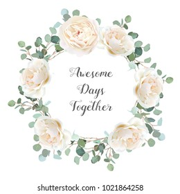 Creamy white roses and silver dollar eucalyptus branches vector design round frame. Cute rustic wedding greenery banner. Mint, blue tones. Watercolor style. All elements are isolated and editable
