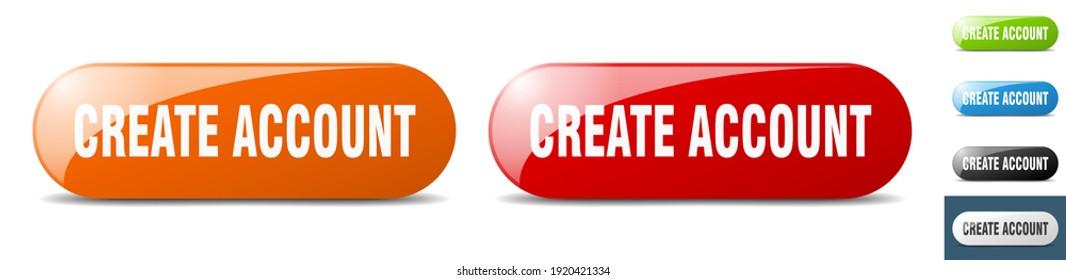 create account button. sign. key. push button set