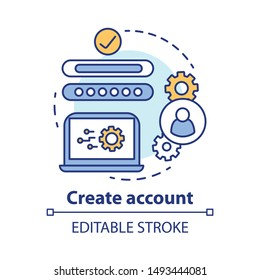 Create account concept icon. Social network profile registration idea thin line illustration. New user web page creation. Online authorization. Vector isolated outline drawing. Editable stroke