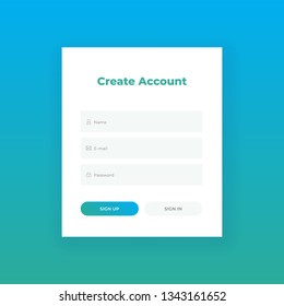 Create Account. Login form for web site Material design template. UI/UX