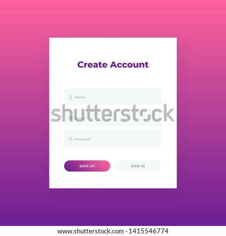 Create Account Login Form Web Site Stock Vector Royalty