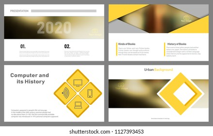 Create the cover of the brochure. The abstract yellow slides. An unusual frame for banners. A creative set of infographic elements. A set of standard sheets. Modern vector.