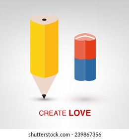 Create Love - creative Valentines Day concept. Yellow pencil with blue and red eraser vector illustration
