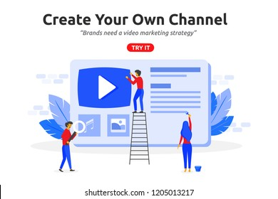 Create online video channel concept modern flat design. Video marketing content
