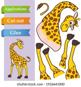 Create paper application the cartoon fun Giraffe. Use scissors cut parts of Giraffe and glue on paper. Education logic game for preschool kids to help with cutting, sticking and learning about animal