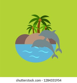 create vector identity of tourist attractions in Buleleng called Lovina Beach which is identical to dolphins and the atmosphere of the beach is clean and beautiful