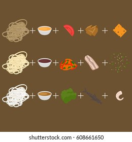 Create wok. Set of korean, thai and chinese food flat design elements. Asian street food menu. Traditional dish noodle and ingredients.
