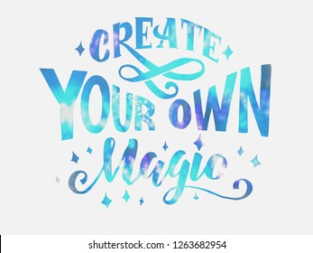 Create you own magic cosmic lettering on white background. Vector illustration EPS 10