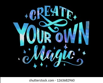 Create you own magic cosmic lettering on black background. Vector illustration EPS 10