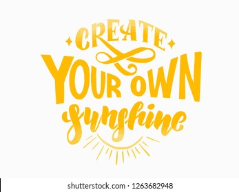 Create you own sunshine yellow lettering on white background. Vector illustration EPS 10