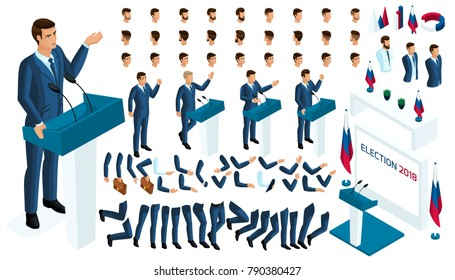 Create your isometric character. 3d man, presidential candidate for the required election, voting. A large set of emotions, gestures for the president.
