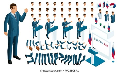 Create your isometric character. 3d man, presidential candadat, elections, voting. A large set of emotions, gestures for the president.