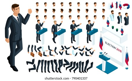 Create your isometric character. 3d man, Presidential Candidate debates, elections, voting. A large set of emotions, gestures for the president