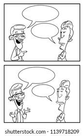 Create your Own Comic, Conversation between Two Men Cartoon Vector