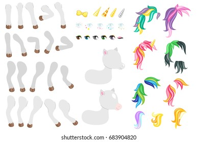 Create your own cute little pony. Different types of mane, tails, eyes and other elements.