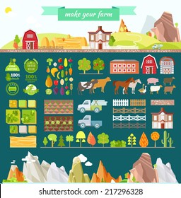 Create your own farm. Big set of design elements in modern flat style. Vector illustration