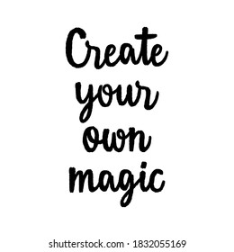 Create your own magic hand lettering on white background.