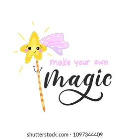 create your own magic inspirational card with doodles and lettering isolated on white background. Vector illustration