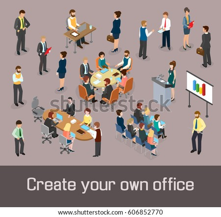 Create your own office concept. Isometric people and office furnishings as elements of design. & Create Your Own Office Concept Isometric Stock Vector (Royalty Free ...