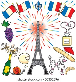 Create your own parisian party with the Eiffel Tower, fireworks, french flags, food and champagne. Perfect for Bastille Day!