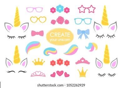 Create your own unicorn - big vector collection. Unicorn constructor. Cute unicorn face. Unicorn details - Horhs, eyelashes, ears, hairstyles, flowers, crowns, glasses bows Vector illustration