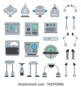 Create your own unique vector robot with this collection of arms, legs, bodies, and heads.
