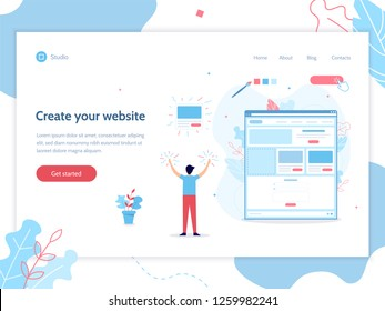Create your own website. Web banner design template. Website builder concept. Flat vector illustration.