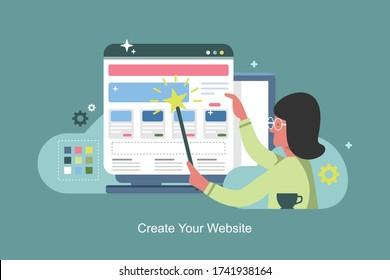 Create your own website. Web banner design template. Website builder concept vector illustration. People creates her own website.