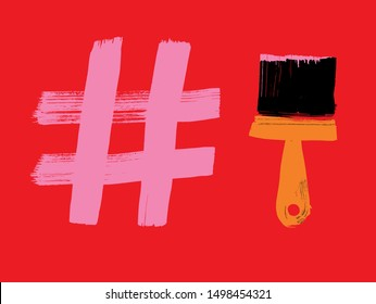Creating hash tags, Hashtag and paint brush, grunge texture, brushstroke, red background, vector illustration, Paint, Marketing with Hashtags, social media concept, making hashtag, Influencer, Apps