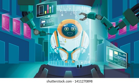 Creating Robot Next Generation Vector Illustration. Laboratory Future, Artificial Intelligence Creates Mechanical Robot. Smart System Gives Robot Good Character. Engineering Embodiment.
