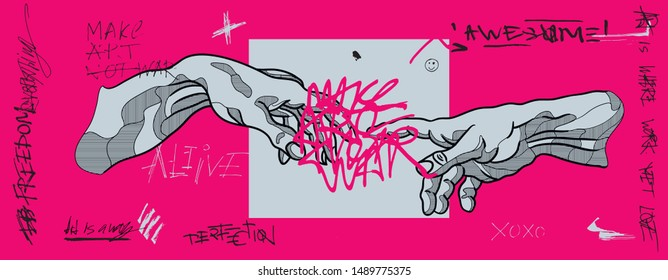 The Creation of Adam by Michelangelo. Crazy pink calligraphy. Vector hand drawn illustration.