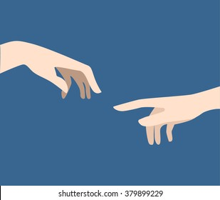 The creation of the Adam classic art picture fragment in modern flat style. One finger pointing touching another hand.