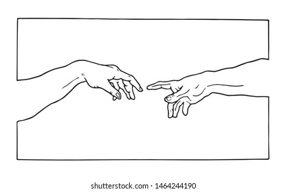 Creation of adam Michelangelo vector hands with frame
