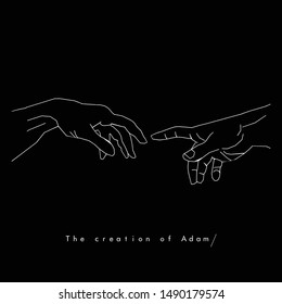 the creation of Adam modern design - pictogram
