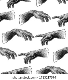 The Creation of Adam. Vector hand drawn seamless pattern from a section of Michelangelo's fresco Sistine Chapel ceiling on white background.