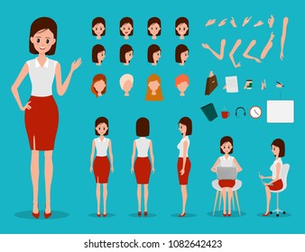Creation of businesswoman with various views, hairstyles, emotion face and pose for animation.