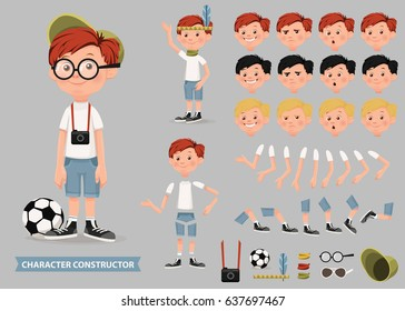 Creation of cartoon character boy set with haircuts emotions legs positions and sports gear isolated vector illustration.Moving arms, legs. Chair. Board.