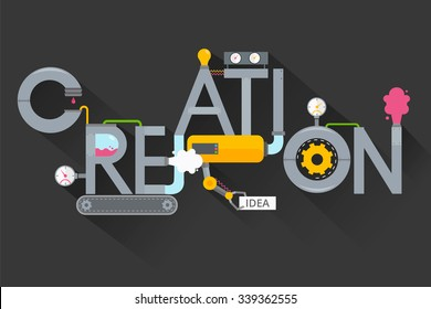 The creation of creative ideas.Creative process.Development production, plant , invention and solution.Word creation in the form of metal pipes