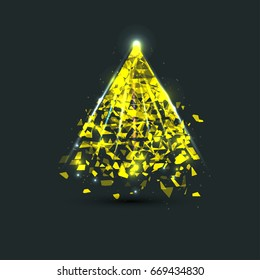the creation or the destruction of the Golden pyramid. Creative vector illustration for your design
